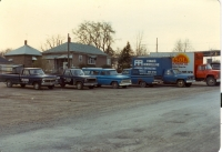 COMPANY FLEET parked at the then premises of 514 queenston st.  Circa 1982.jpg